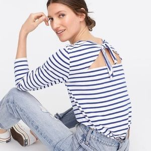 J.Crew blue and white striped tie back Mariner top